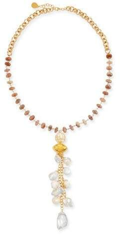 cb599213dff2 Moonstone & Pearl Cluster Necklace in 2019   Products   Cluster ...