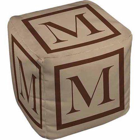 Thumbprintz Classic Block Monogram Pouf, Caramel, Brown