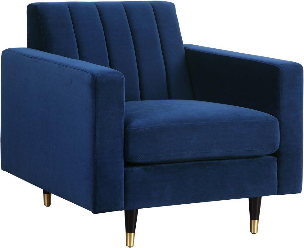 Conn club chair meridian furniture navy velvet chair