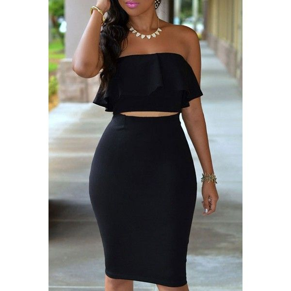 Shop for Ruffled Tube Top + High-Waisted Pencil Skirt Twinset at ZAFUL. Free Shipping And Affordable Prices.