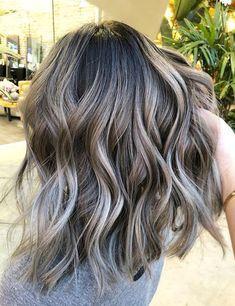 Image Result For Dark Hair With Gray Highlights Hair Styles Hair Highlights Balayage Hair