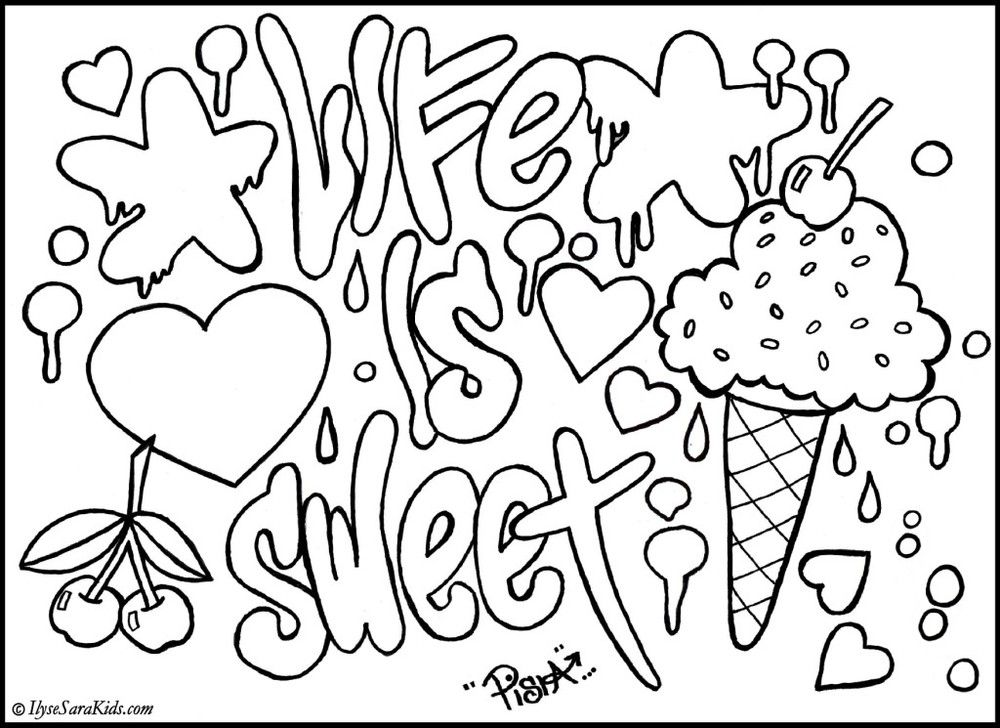 Graffiti Coloring Pages | Coloring pages for Adults | Pinterest ...