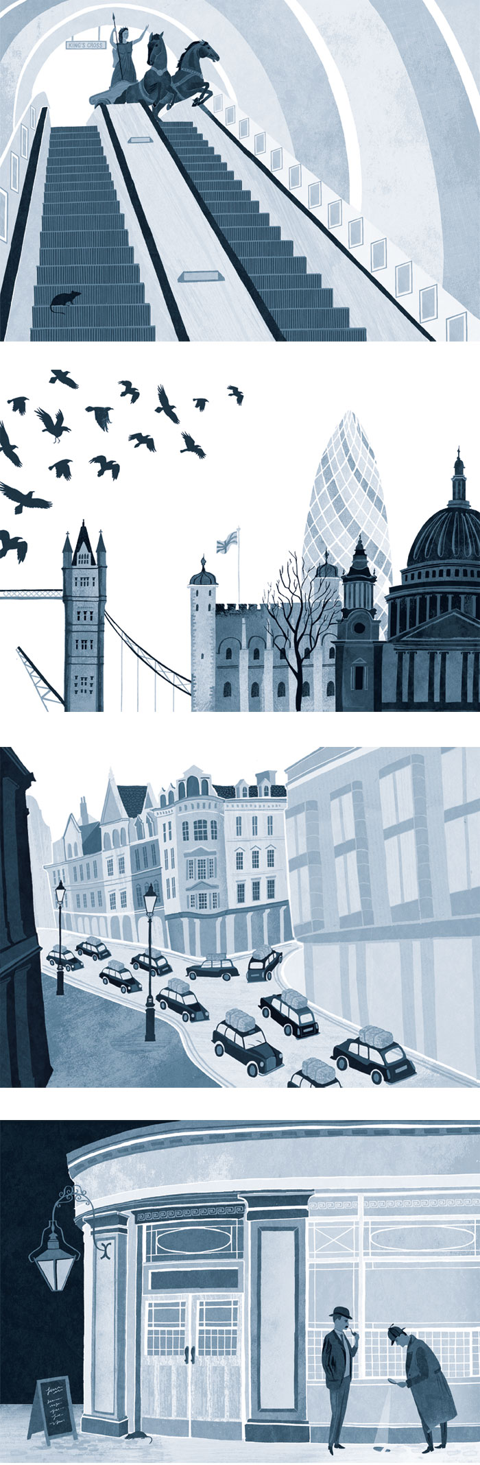 London illustration graphics. Black and white book illustrations by Sara Mulvanny Includes: Tower Bridge, St Paul's, Tower of London, London Taxis, Sherlock Holmes, London Underground.