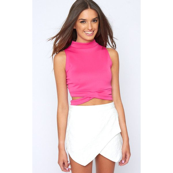 e635df1f45edb4 Selina Pink Tie Front Crop Top -S M ( 6.63) ❤ liked on Polyvore featuring  tops