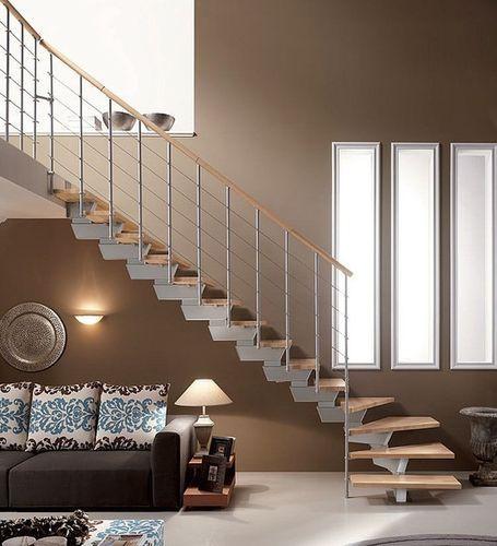 Escalera en L / estructura de acero / peldaño de madera / con zanca central KNOCK BASIC RINTAL