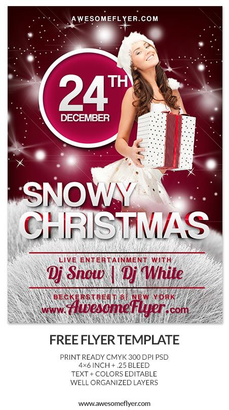 Free Snowy Christmas PSD Flyer Template http\/\/wwwawesomeflyer - free printable christmas flyers templates