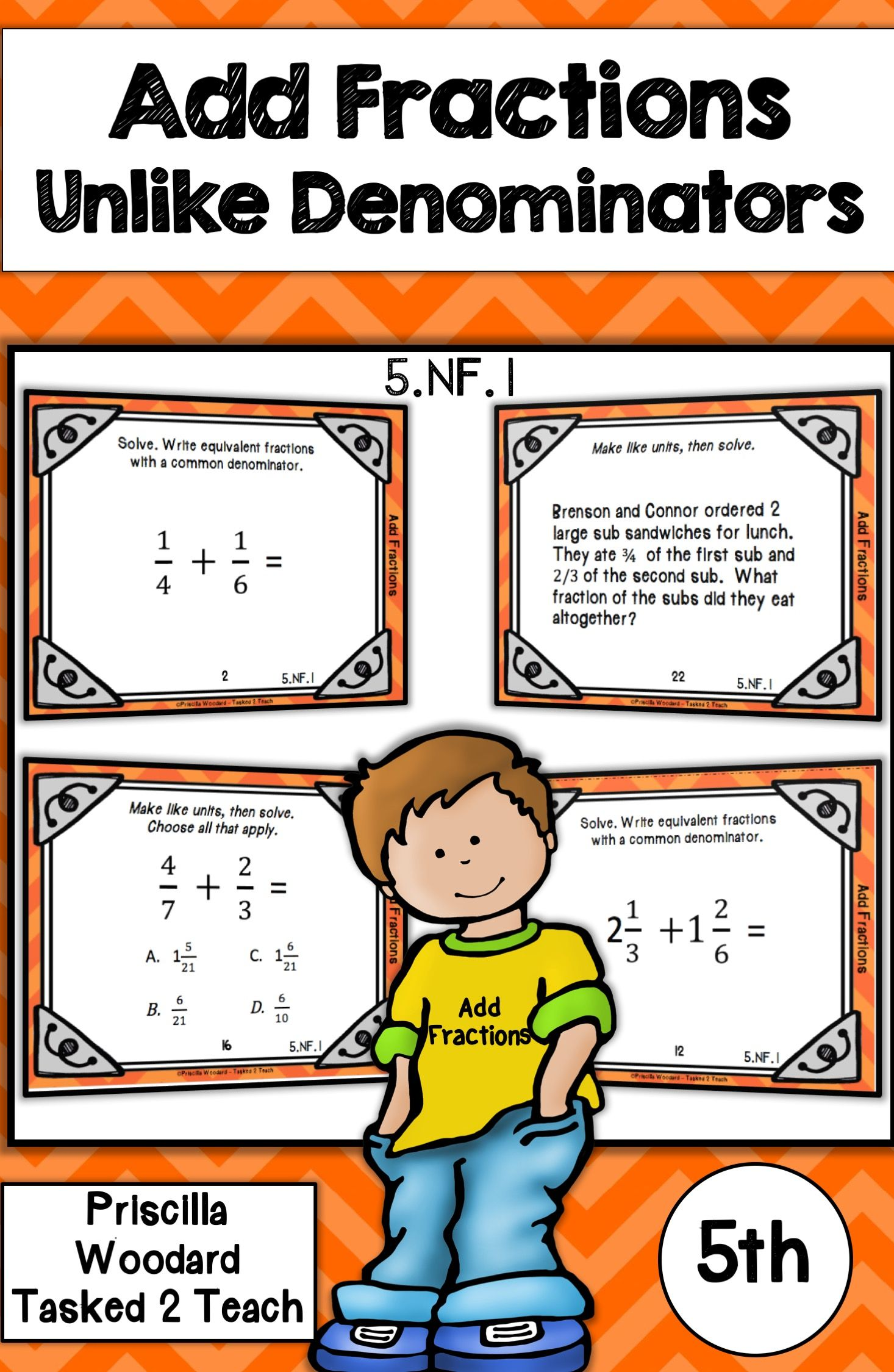 Add fractions with unlike denominators 5th grade 5nf1