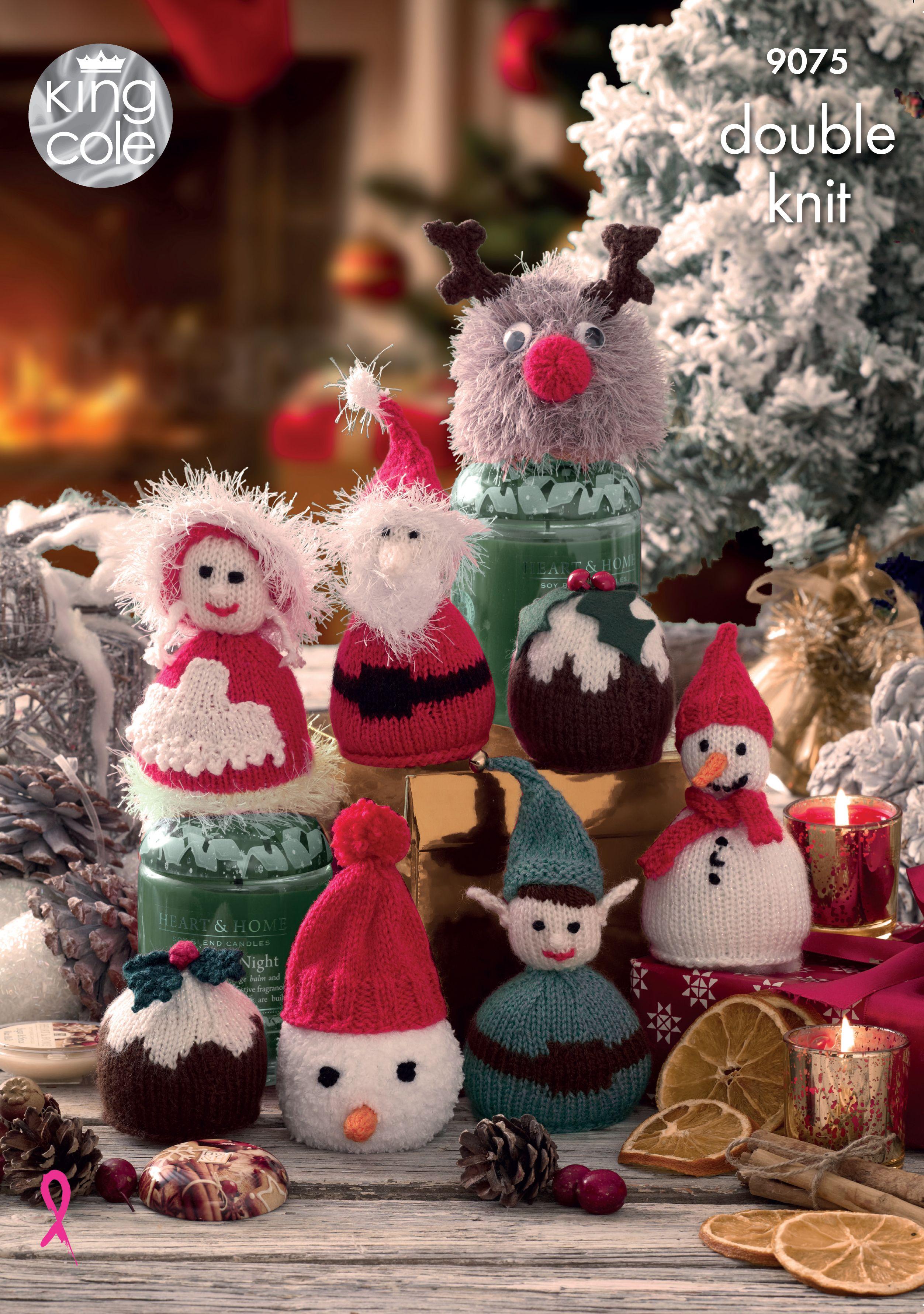 Rudolph and stocking knitting pattern 8002 Christmas novelties Santa snowman