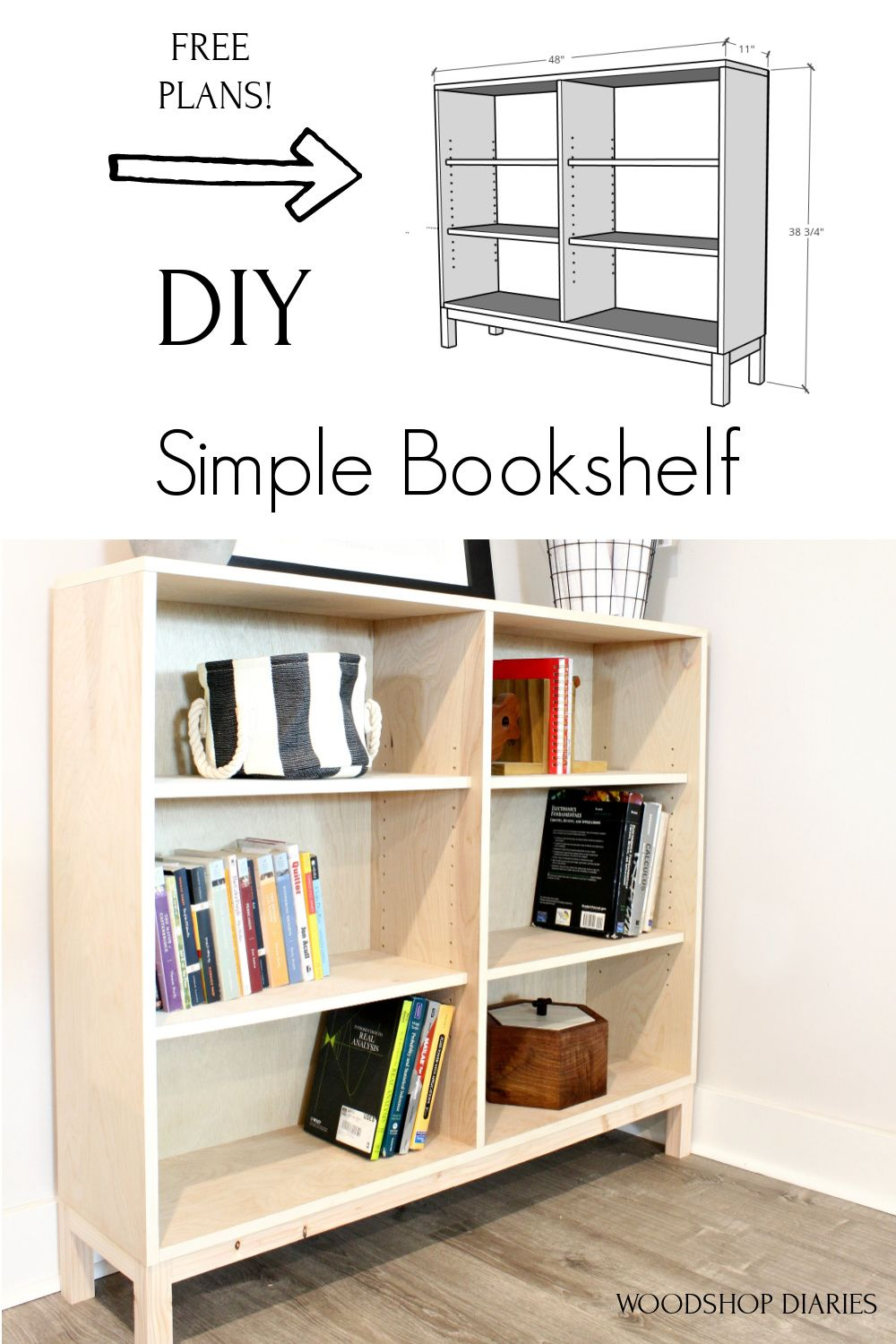 One Sheet Plywood Bookshelf 6 Steps And Free Building Plans In 2020 Bookshelves Diy Bookshelf Woodworking Plans Simple Bookshelf
