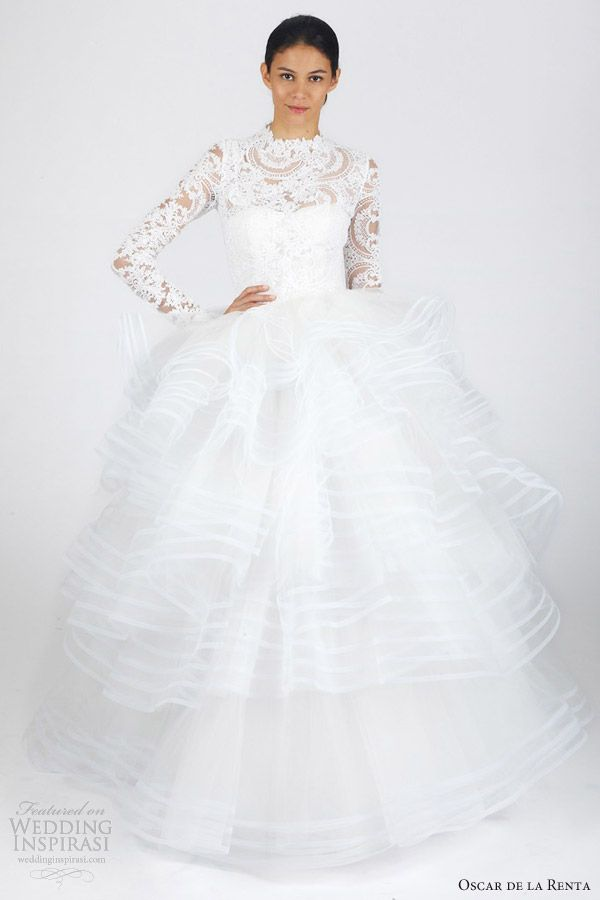 oscar de la renta bridal fall 2013 long sleeve ball gown wedding dress