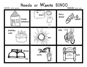 Worksheet Needs And Wants Worksheets 1000 images about needs and wants on pinterest bingo kindergarten economics