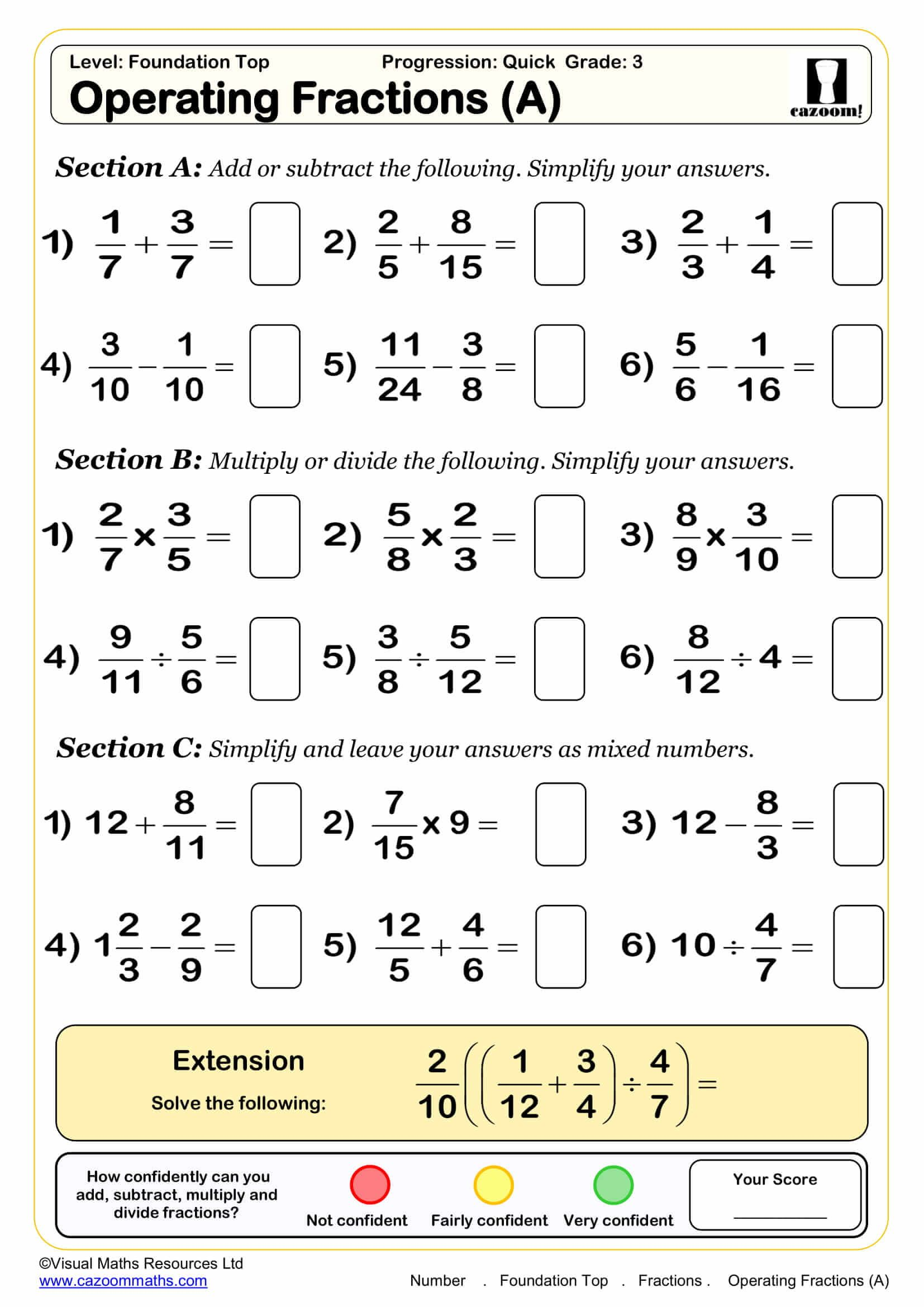 Fractions Maths Worksheet Ks3 maths worksheets, Free