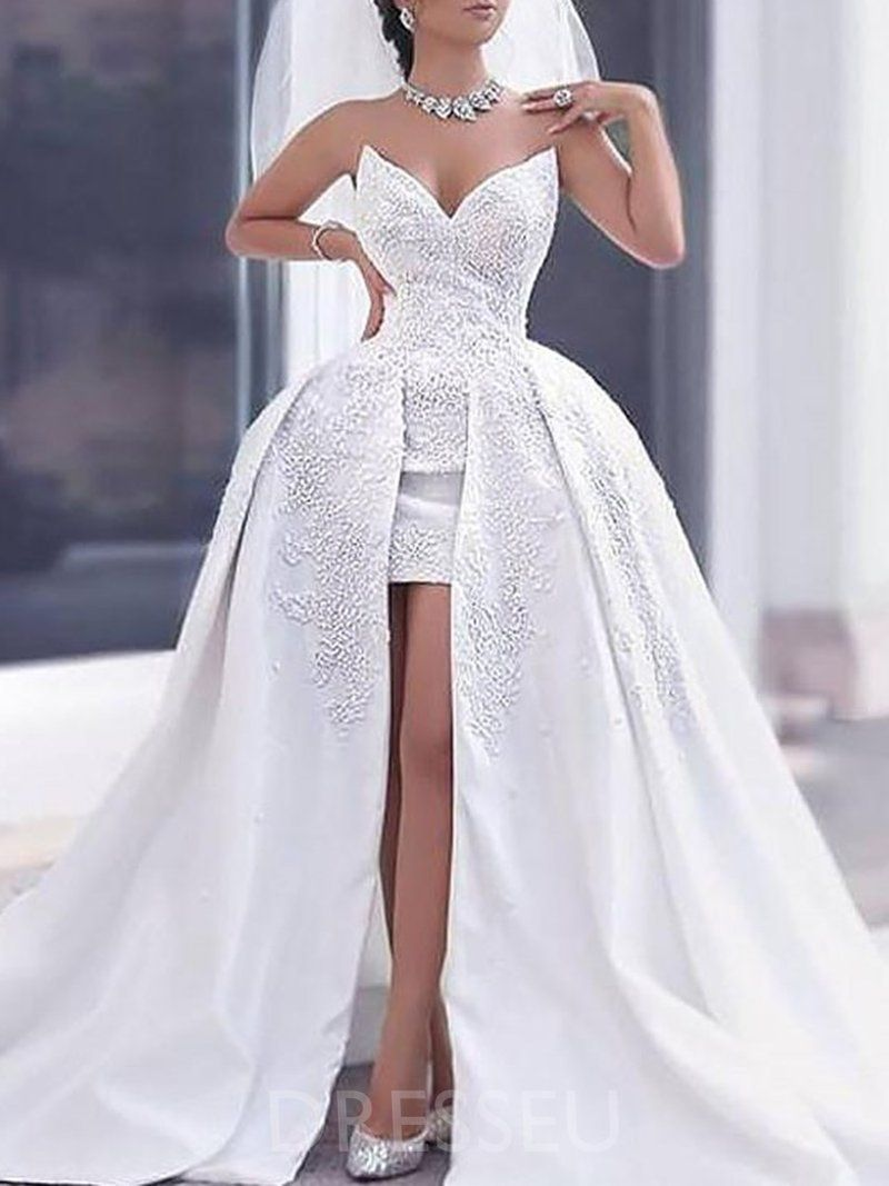 Split Front Sweep Brush Ball Gown Sweetheart Hall Wedding Dress