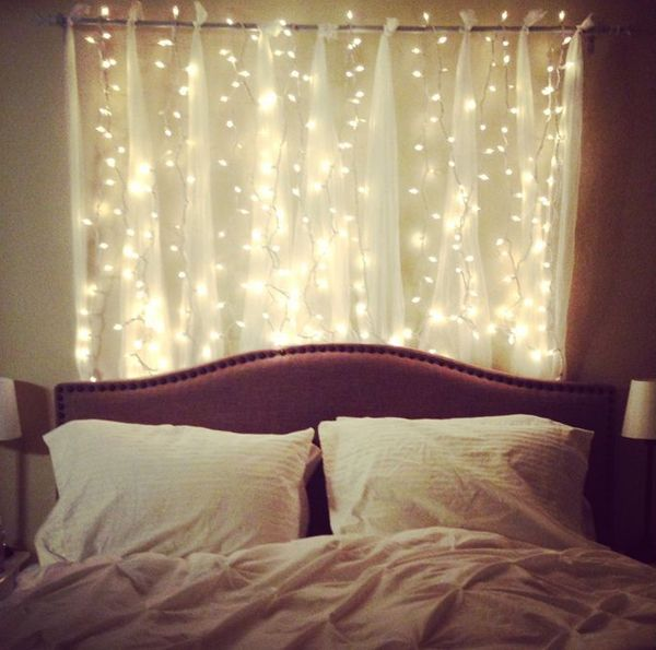 Beautiful Bedroom Twinkle Lights Headboard With Light