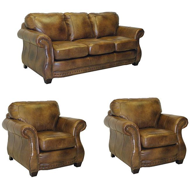 the sterling cognac brown italian leather sofa and two chairs are