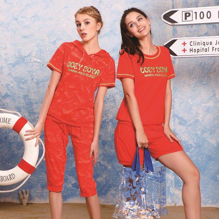 Summer 100% cotton casual sports lounge set a31419b , a31414d