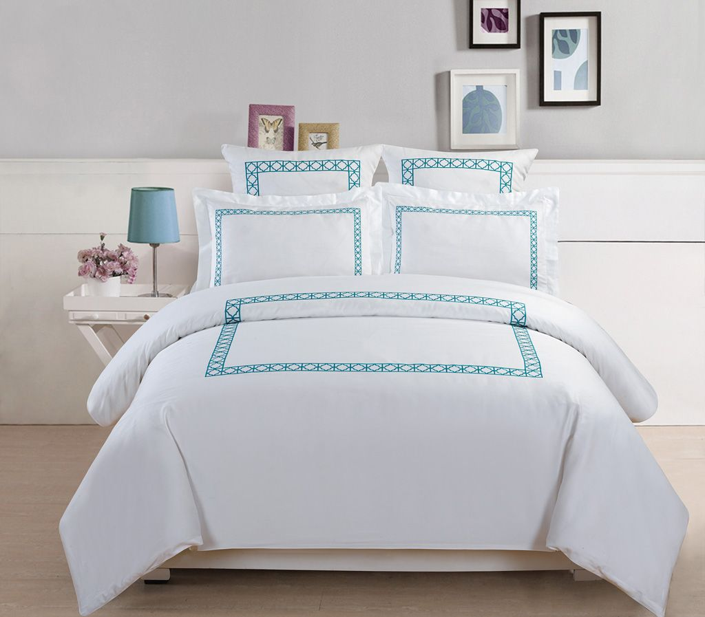 Piece hotel collection thread count cotton embroidered duvet