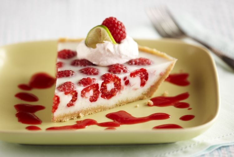 Raspberry Key Lime Pie with Tequila-Raspberry Sauce