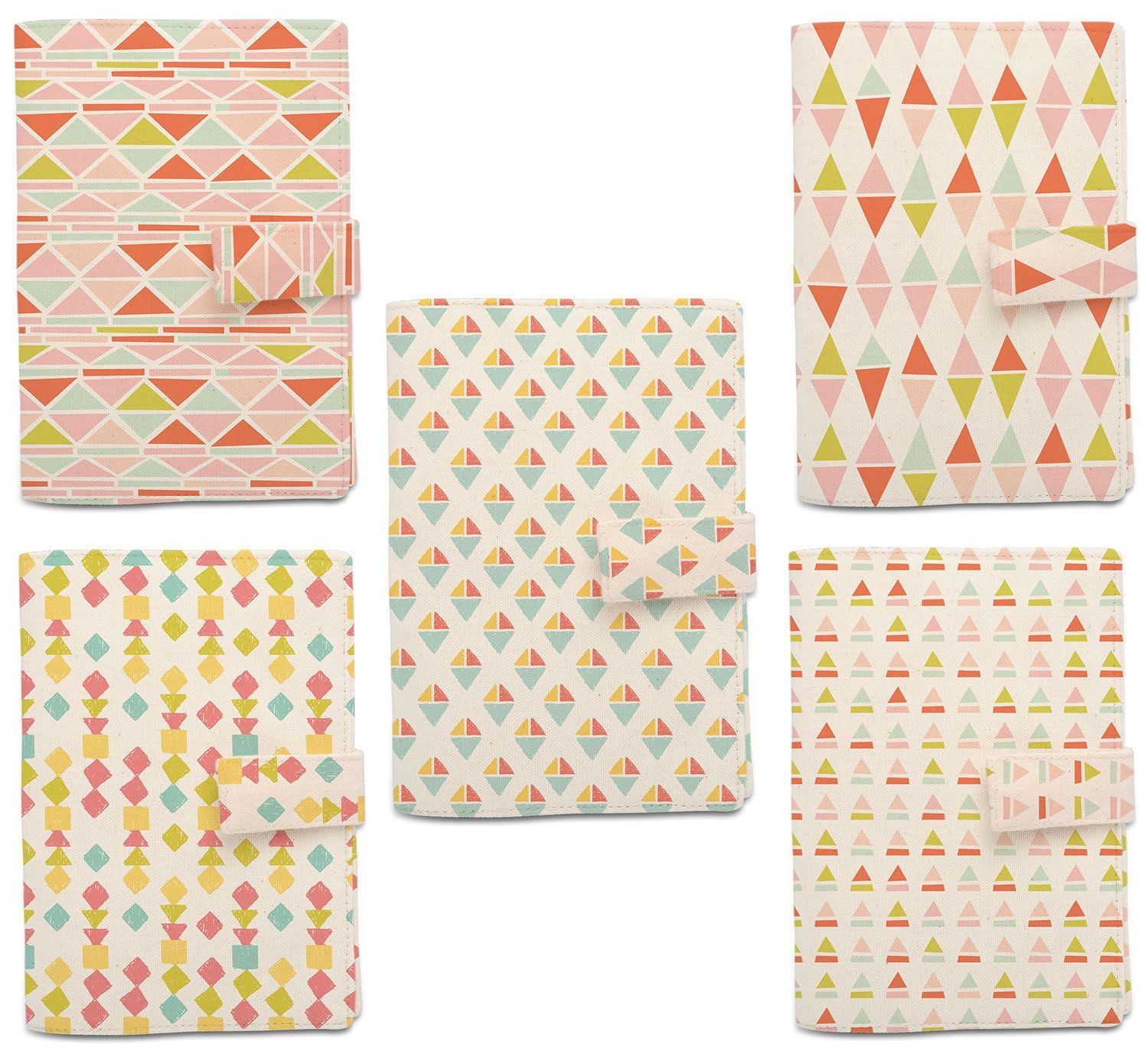 New Triangle Pattern Beige Printed Canvas Passport Holder Cover Case ...