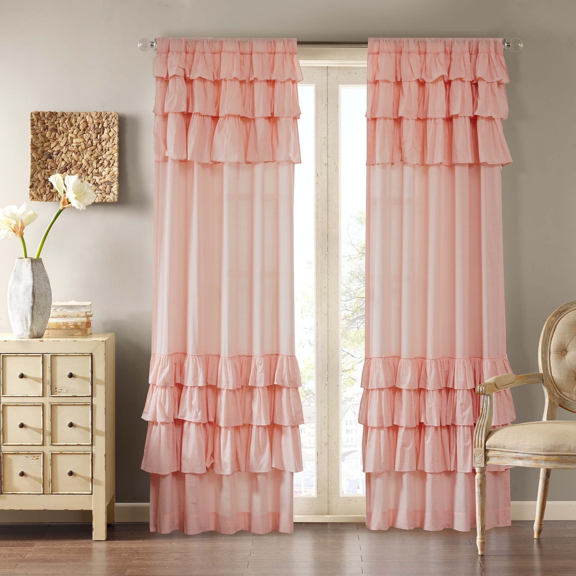 Ruffle Curtain Panel Maison Rouge Marceline Cotton Oversized Ruffle Curtain Panel 63