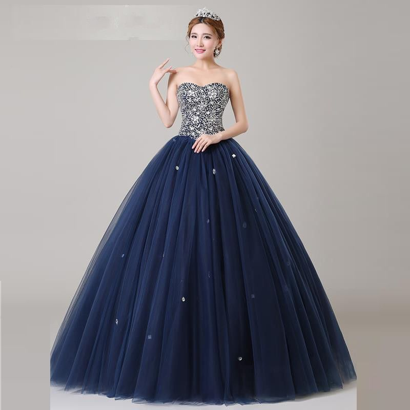 Navy blue Crystals Quinceanera Dresses Ball gown Backless Lace up ...