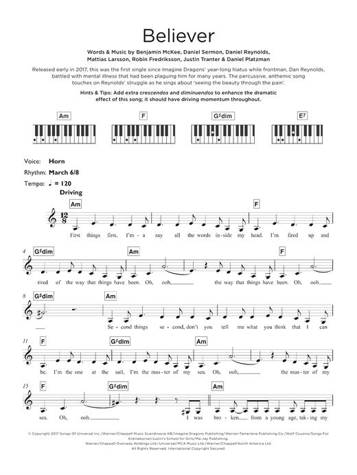 Imagine Dragons Believer Imagine Dragons Believer Imagine Dragons Piano Sheet Music
