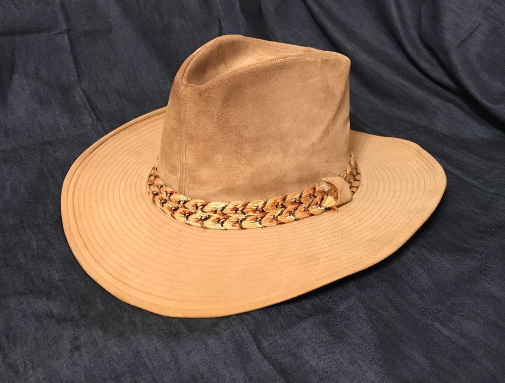 66a5bd1407a Men s Vintage RESISTOL Stagecoach Western Suede Cowboy Hat ~ Size 7.3 8 ~  TAN  Resistol  CowboyHat