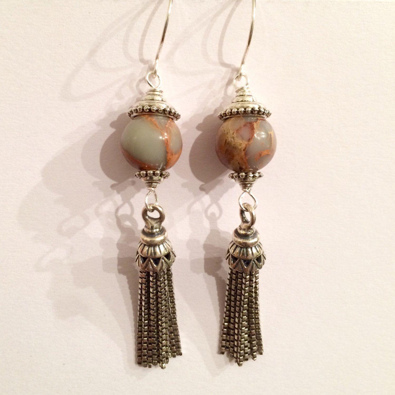 Ocean jasper vintage sterling silver tassels dangling earrings handmade with…