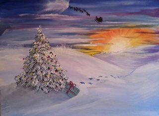"Paint Nite | Tommy Doyles Hyannis, MA December18 | ""Santa's Last Stop"" by Master Artist Ward Parker"
