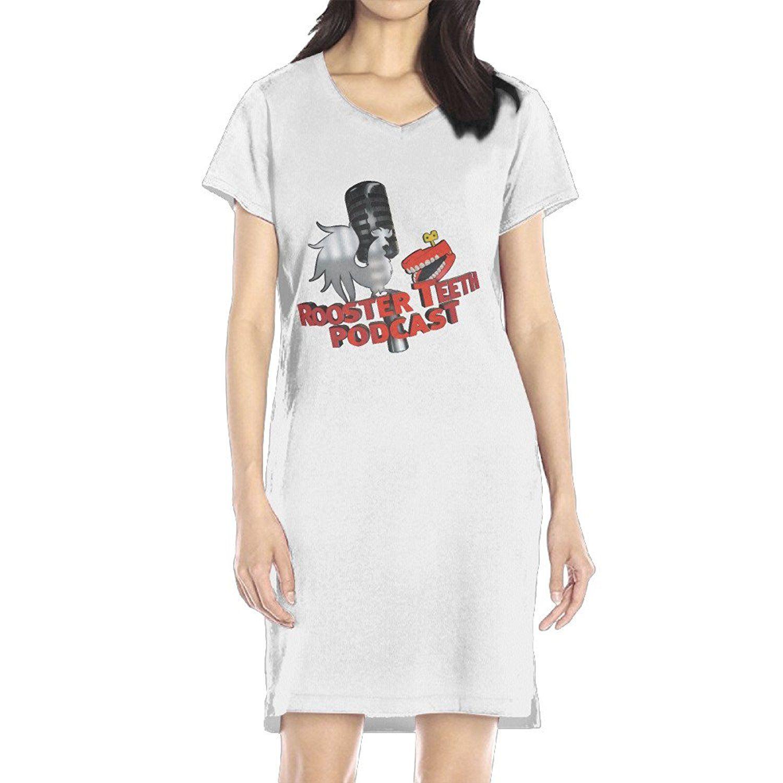 Womenus rooster teeth vneck short sleeve casual tshirt dress