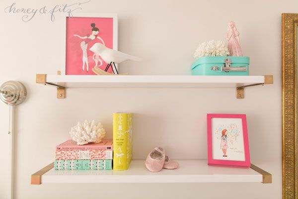 @IKEA USA shelves spray painted gold! Beautiful for a little girls room.