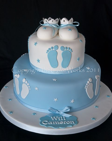 Boys Baby Shower Cake: Footprints Baptism Party - Google Search
