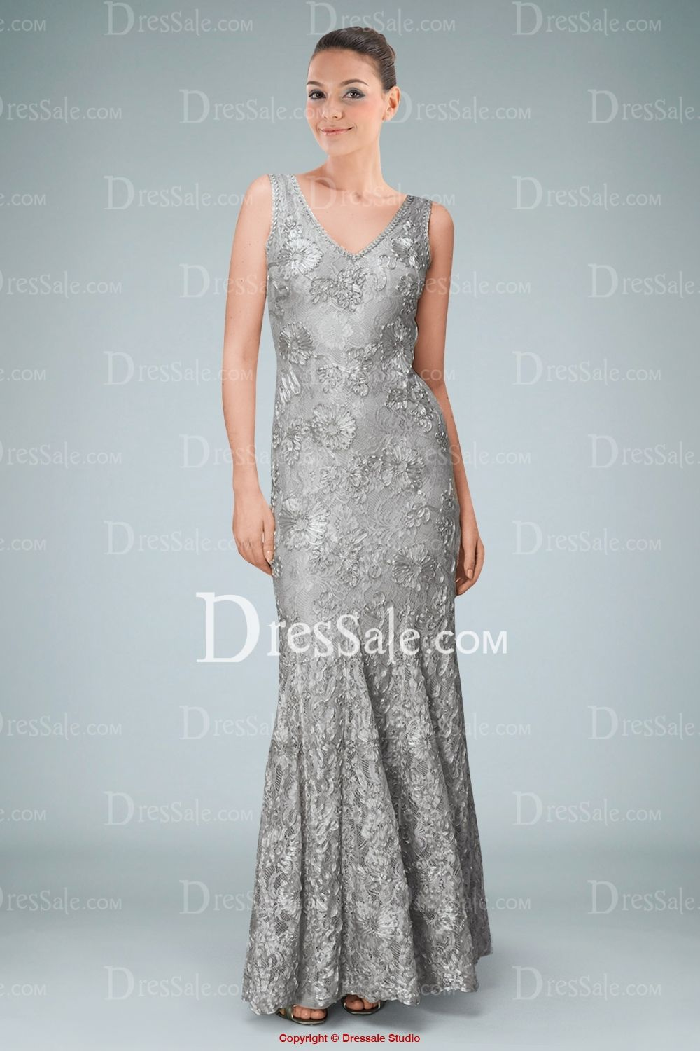 Luxury Silver Ankle length Dress With Sparkling Sequins for