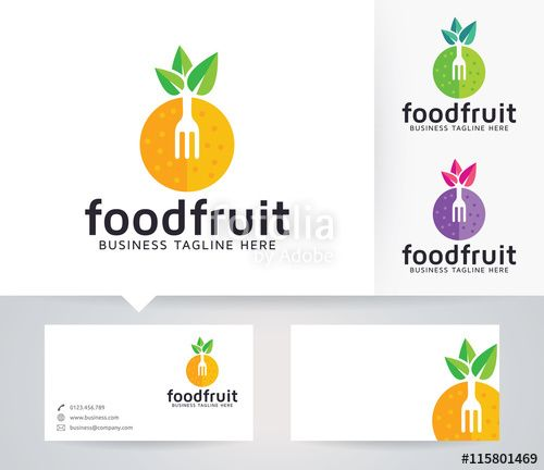 Vector Food Fruit Logo With Alternative Colors And Business Card Template De Fruits