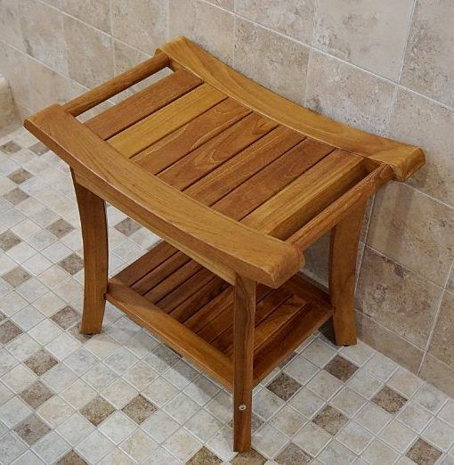 Welland 19 5 Teak Shower Bench With Handles Beachfront Decor