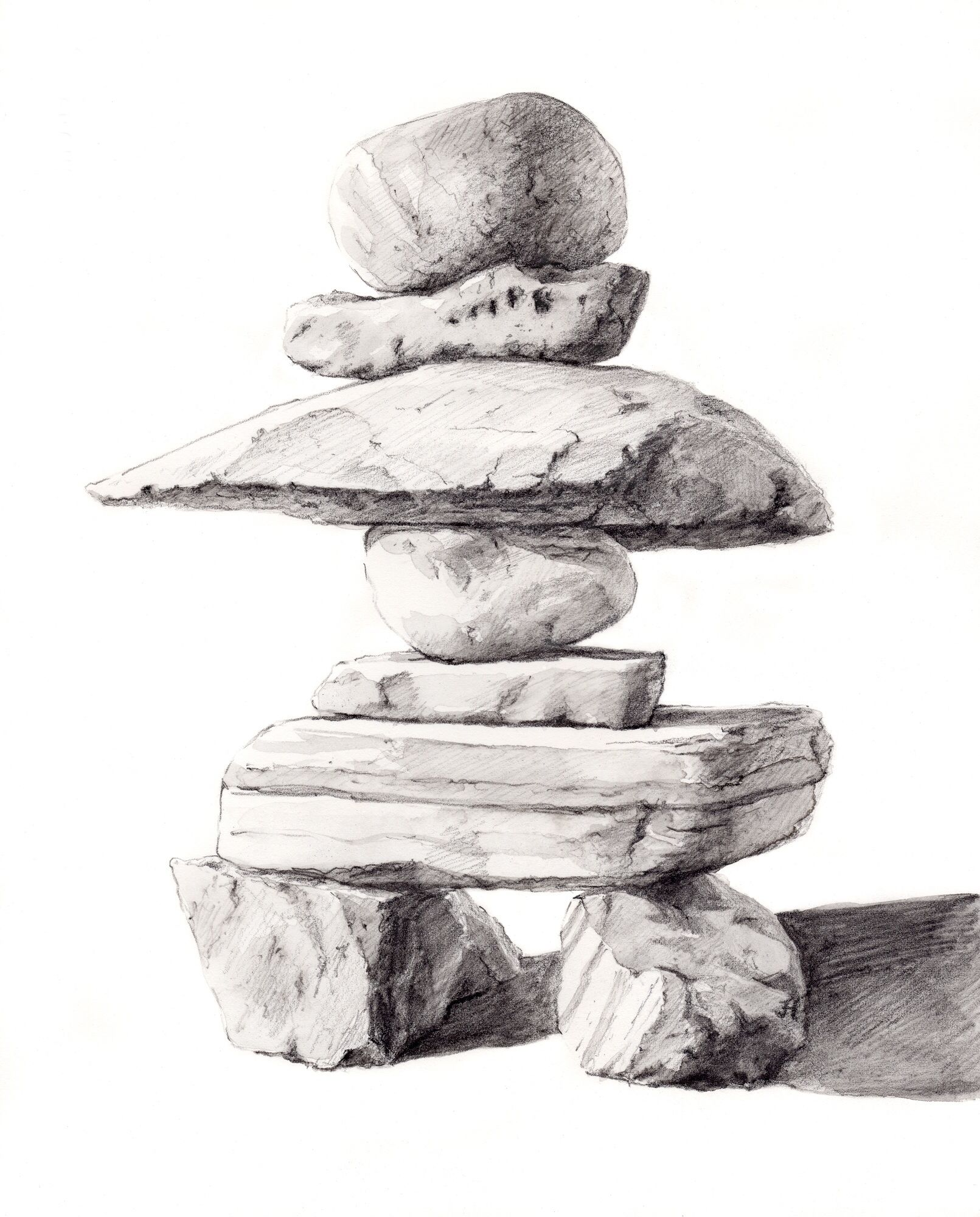 how to draw an inukshuk easy