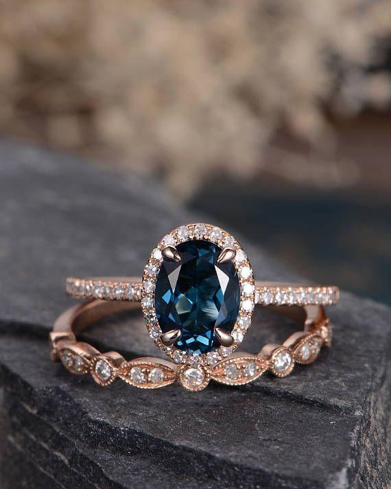 London Blue Topaz Wedding Ring Set Rose Gold Engagement Ring Bridal