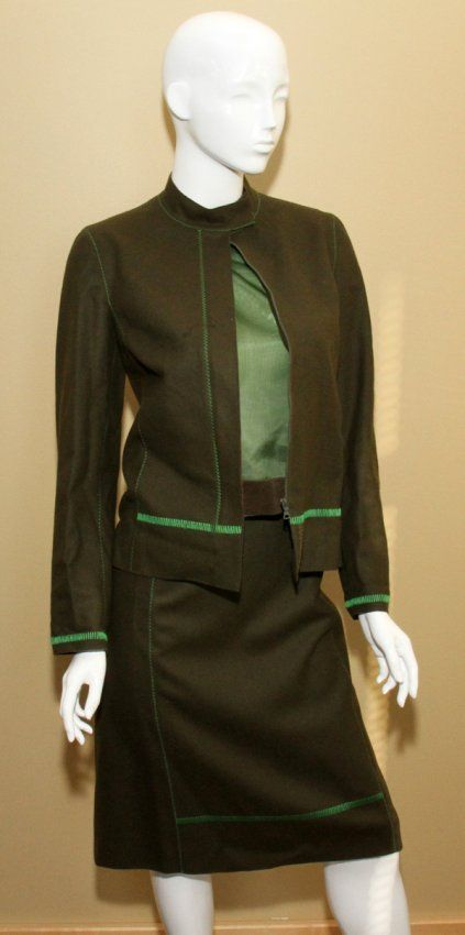 PRADA WOOL SKIRT SUIT WITH BLOUSE