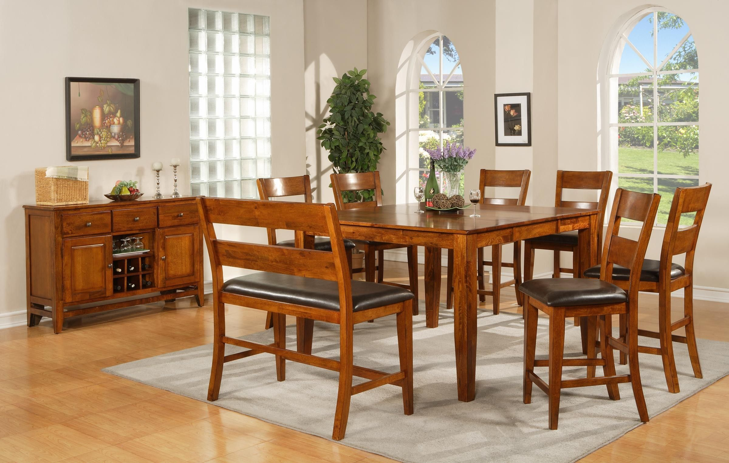 Awesome Wooden Dining Set With Benches Also Rectangular Gray Enchanting High Dining Room Table Decorating Inspiration