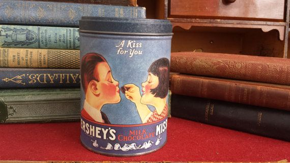 Vintage Hershey's Kisses Tin A kiss for you by ManyLittleBoxes