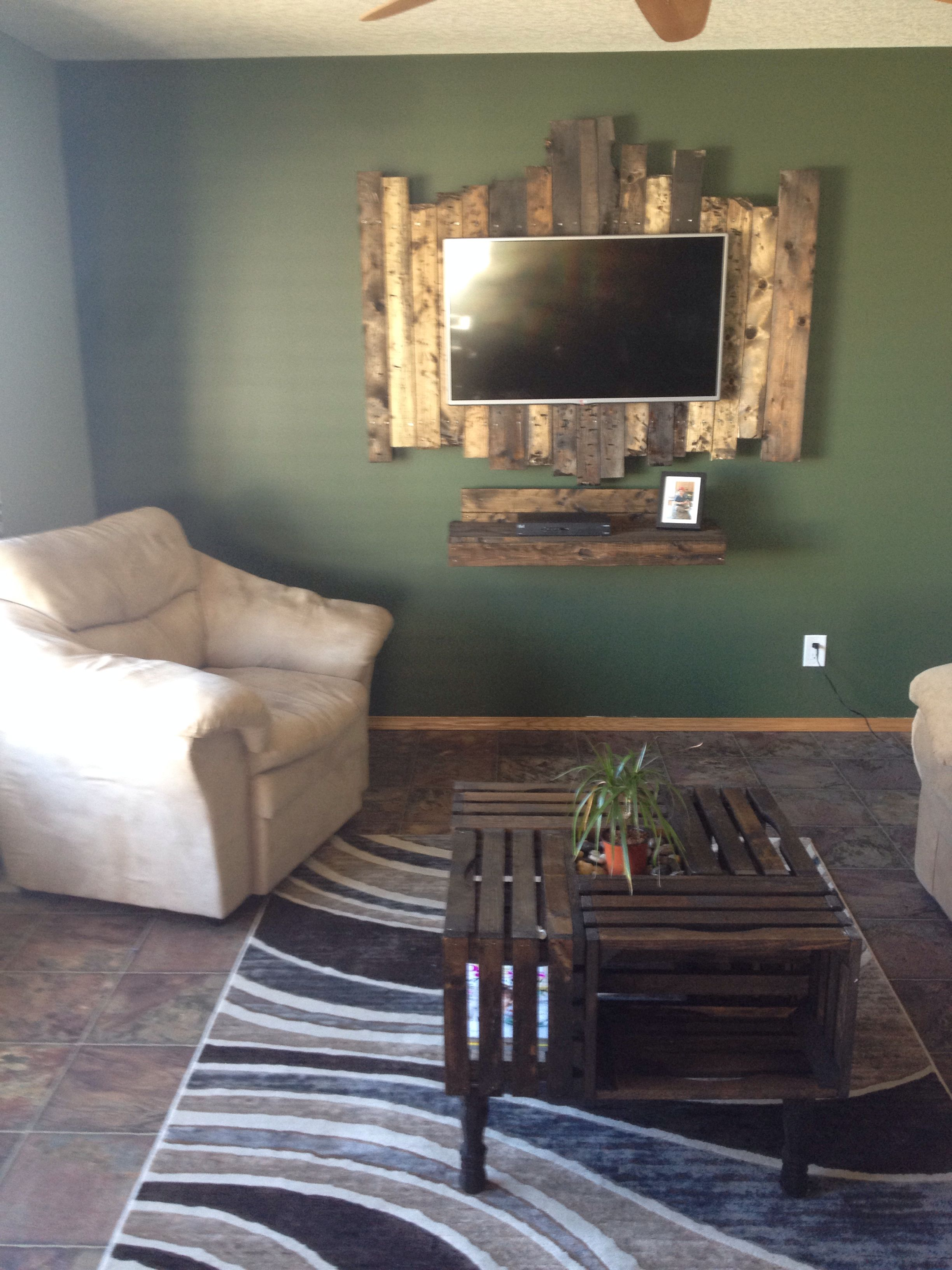 Handmade Coffee Table And Tv Wall Mount Rustic Living Room