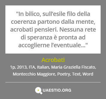 """Acrobati"" (2013) #MariaGraziellaFiscato #MontecchioMaggiore #ITA #Text #Poetry #Italiano #Word https://quaestio.org/acrobati"