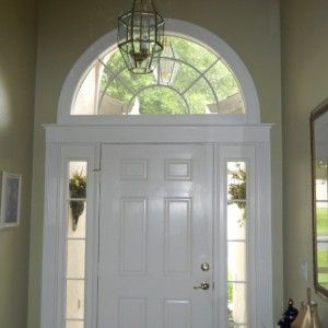 Decor U0026 Tips: Front Entry Door With Sidelights And Arched Transom Window  Also Window Casing With Door Molding Ideas And Window Sill Trim Plus Foyer  Pendant ...