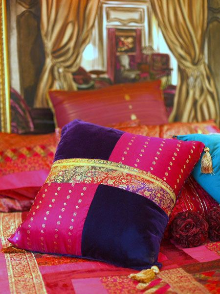 Old silk saree into cushion cover