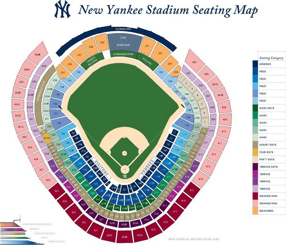 New York Yankees Seating Chart With Seat Views Tickpick Yankee Stadium New York Yankees Stadium New York Yankees