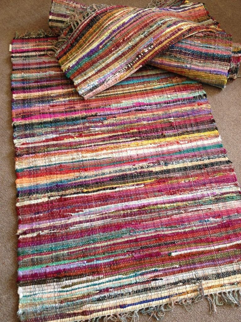 Second Nature Fair Trade Shabby Chic Recycled Rag Rug 90 X 150cm Co Uk Kitchen Home
