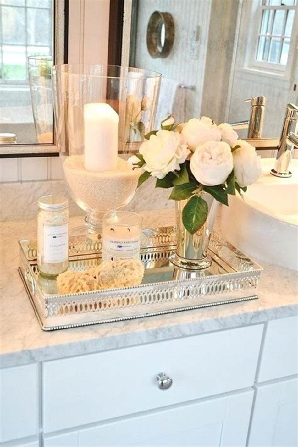 40 Beautiful Bathroom Vanity Tray Decor Ideas 19 Bathroom Counter Decor Restroom Decor Bathroom Vanity Tray
