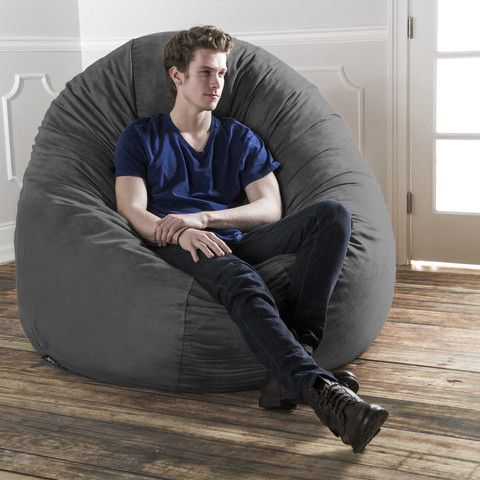 Charcoal Microsuede 6 Foot Jaxx Cocoon The Most Popular Bean Bag Chair Around Super Sized For Lounger A Big Be Large Bean Bags Bean Bag Chair Cool Bean Bags