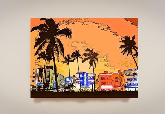 South Beach Print Or Canvas Miami Beach Decor Miami City Scene