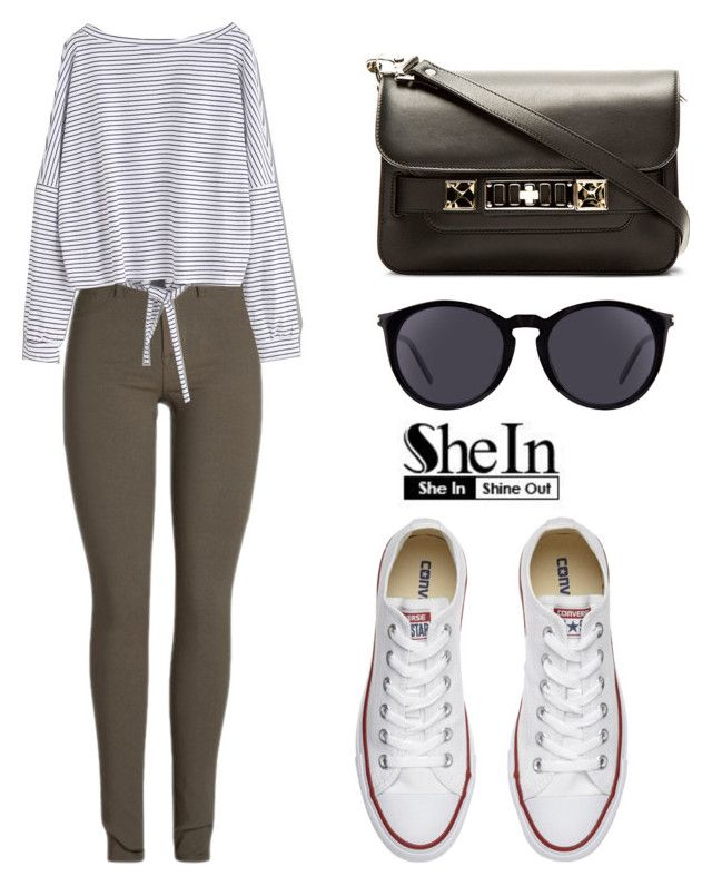 """SHEIN T-Shirt"" by tania-alves ❤ liked on Polyvore featuring Converse, Proenza Schouler and Yves Saint Laurent"